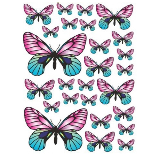 Pink yellow butterfly stickers share this